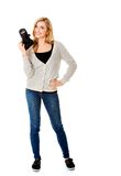 Woman photographer with DSLR Stock Images