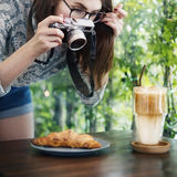 Woman Photographer Food Croissant Photography Concept Royalty Free Stock Photos