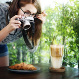 Woman Photographer Food Croissant Photography Concept Royalty Free Stock Photo