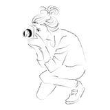 Woman photographer line art black and white illustration | cartoon people art Royalty Free Stock Photo