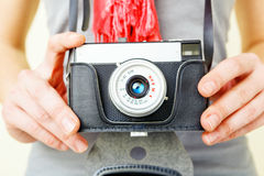 Woman photographer with lomo camera. Royalty Free Stock Photo