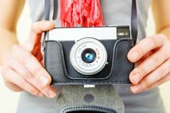 Woman photographer with lomo camera. Royalty Free Stock Photo