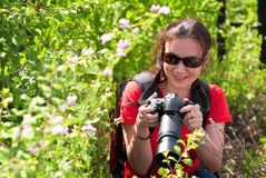 Woman photographer in nature. Woman photographer working in nature Royalty Free Stock Photo