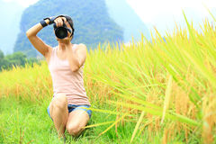 Woman photographer outdoor Stock Images