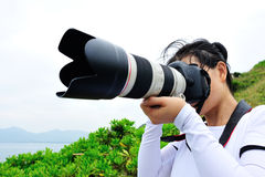 Woman photographer outdoor Royalty Free Stock Images