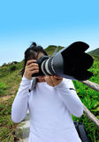 Woman photographer outdoor Royalty Free Stock Photo