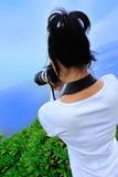 Woman photographer outdoor Royalty Free Stock Photos