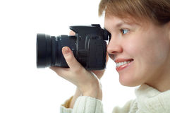 Woman photographer with photo camera Stock Photography