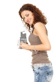 Woman photographer with retro camera taking photo Stock Photo