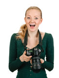 Woman photographer reviewing good shot Royalty Free Stock Images