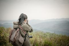 Woman photographer shooting in the forest with nature. Beautiful background Royalty Free Stock Images