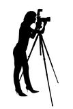 Woman photographer silhouette Royalty Free Stock Photography
