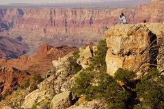 Woman photographer at the South Rim Stock Image