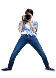 Woman-photographer takes pictures Royalty Free Stock Photo