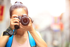 Woman photographer taking photo Stock Photography