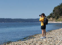 Woman photographer taking photos of a lake during nice summer da Royalty Free Stock Photos