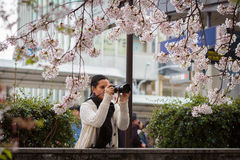 Woman photographer taking pictures in nature Royalty Free Stock Image
