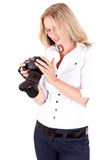 A woman - photographer - on white Royalty Free Stock Photography