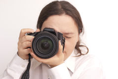 Free Woman Photographer With Camera Royalty Free Stock Images - 23169829