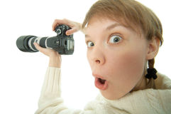 Woman Photographer With Photo Camera Royalty Free Stock Photography