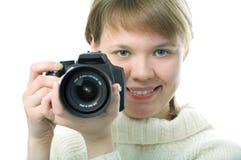 Woman Photographer With Photo Camera Stock Photos