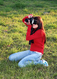 Woman photographer working Stock Images