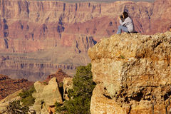 Woman photographerat the South Rim Stock Images