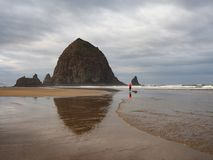 Woman photographing Haystack Rock on Cannon Beach, Oregon. stock photo
