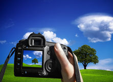 Woman photographing landscape Royalty Free Stock Images