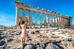 Woman photographing Parthenon temple in Acropolis Stock Photos