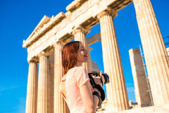 Woman photographing Parthenon temple in Acropolis Stock Image