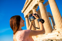 Woman photographing Parthenon temple in Acropolis Stock Photography