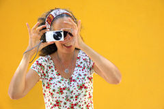 Woman Photographing Point & Shoot Royalty Free Stock Photo