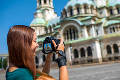 Woman photographing the St. Alexander Nevsky Stock Photos