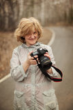 The woman photographs Stock Image