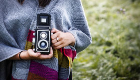 Woman Photography Camera Nature Environment Concept. Woman Photography Camera Nature Concept stock photography