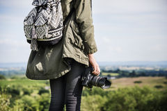 Woman Photography Camera Nature Environment Concept stock photo