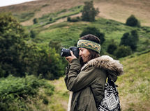 Woman Photography Camera Nature Environment Concept royalty free stock images