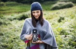 Woman Photography Camera Nature Environment Concept royalty free stock photo