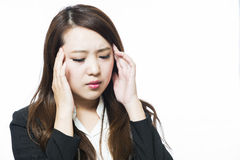 Woman physically uncomfortable headache Royalty Free Stock Photo
