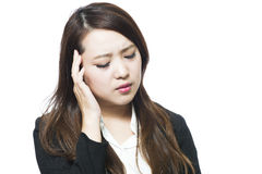 Woman physically uncomfortable headache. Business woman physically uncomfortable headache Stock Photos