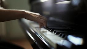 Woman pianist close-up two hands plays energetic classical music on grand piano. Woman pianist two hands plays energetic classical music on a beautiful grand stock video