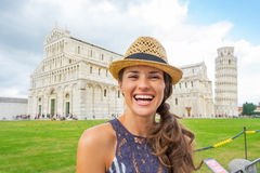 Woman on piazza dei miracoli, pisa, tuscany, italy Stock Photography