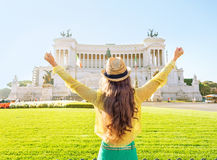 Woman on piazza venezia in rome, italy rejoicing Royalty Free Stock Photos