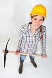 Woman with a pickaxe Royalty Free Stock Photo