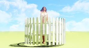 Woman picket fence Royalty Free Stock Image