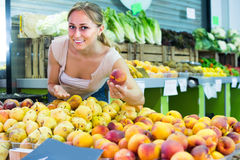 Woman picking aromatic peaches Stock Photography