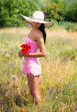 Woman picking the flowers Royalty Free Stock Image
