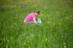 A woman picking herbal tea Stock Photo