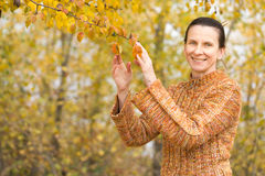Woman Picking Leaves in Autumn Royalty Free Stock Images